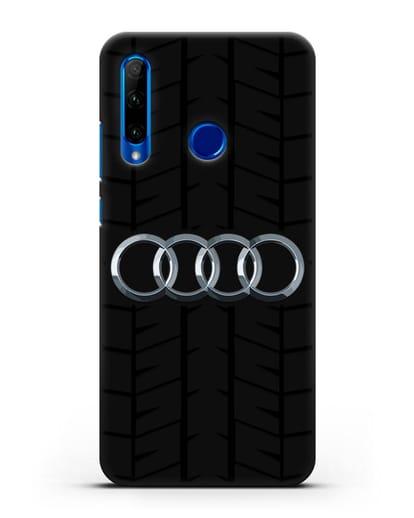 Чехол с логотипом Audi c протектором шин силикон черный для Honor 10i