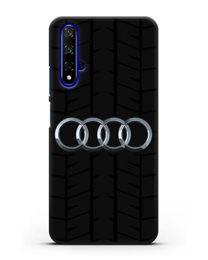 Чехол с логотипом Audi c протектором шин силикон черный для Honor 20
