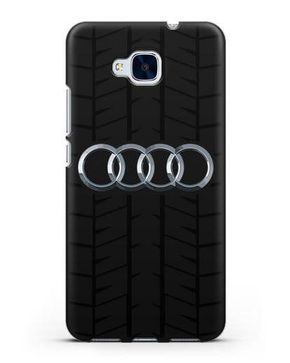 Чехол с логотипом Audi c протектором шин силикон черный для Honor 5C