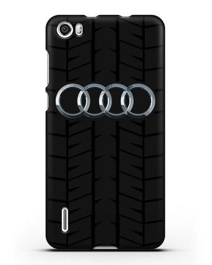 Чехол с логотипом Audi c протектором шин силикон черный для Honor 6