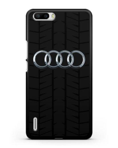 Чехол с логотипом Audi c протектором шин силикон черный для Honor 6 Plus