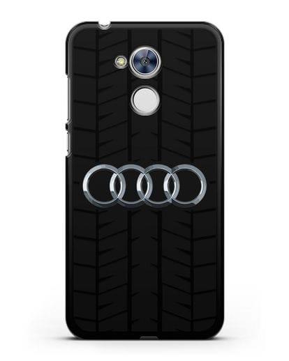 Чехол с логотипом Audi c протектором шин силикон черный для Honor 6A