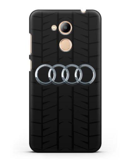 Чехол с логотипом Audi c протектором шин силикон черный для Honor 6C Pro
