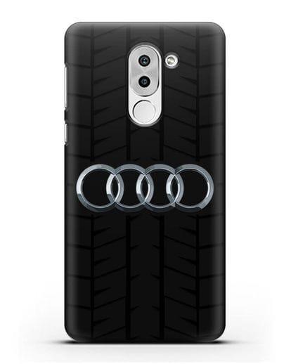 Чехол с логотипом Audi c протектором шин силикон черный для Honor 6X