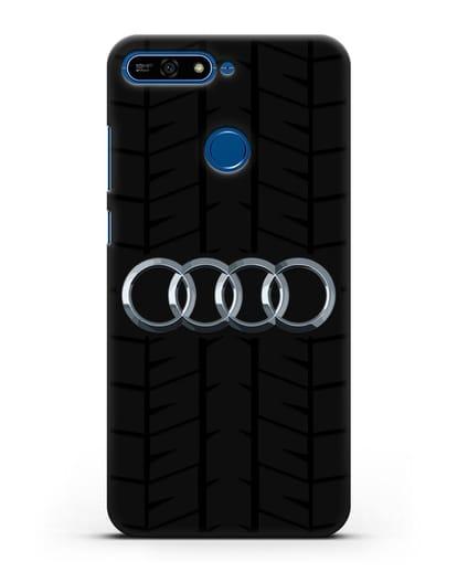 Чехол с логотипом Audi c протектором шин силикон черный для Honor 7А Pro