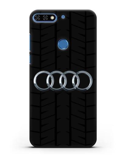 Чехол с логотипом Audi c протектором шин силикон черный для Honor 7C Pro