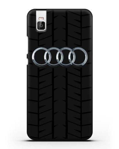 Чехол с логотипом Audi c протектором шин силикон черный для Honor 7i