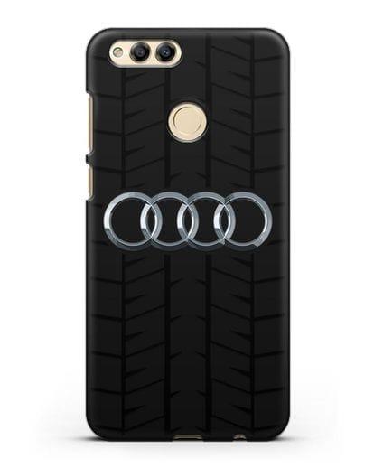 Чехол с логотипом Audi c протектором шин силикон черный для Honor 7X