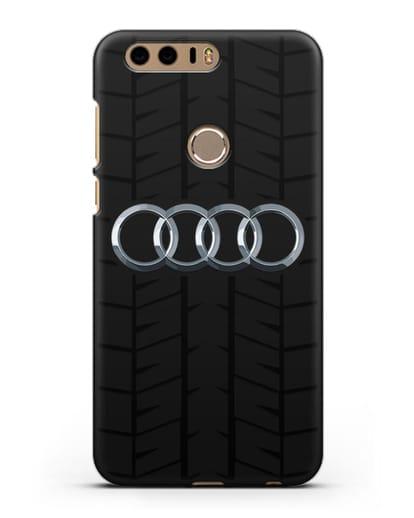 Чехол с логотипом Audi c протектором шин силикон черный для Honor 8