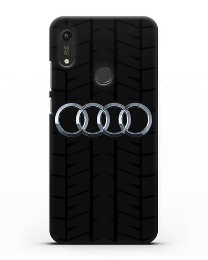 Чехол с логотипом Audi c протектором шин силикон черный для Honor 8A Prime
