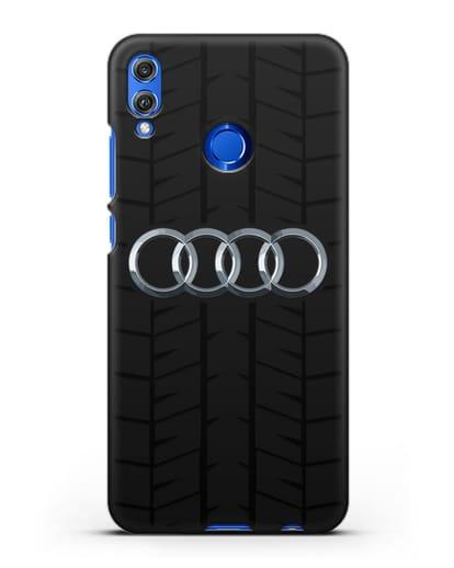 Чехол с логотипом Audi c протектором шин силикон черный для Honor 8X