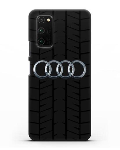 Чехол с логотипом Audi c протектором шин силикон черный для Honor View 30 Pro