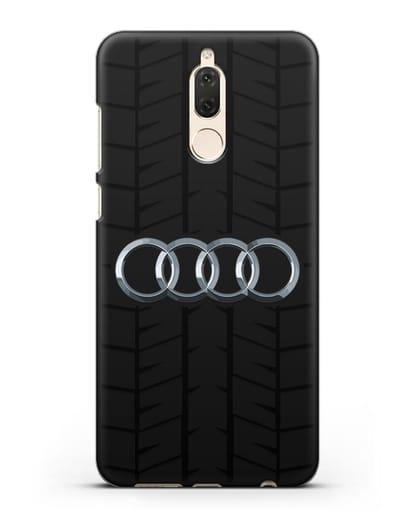Чехол с логотипом Audi c протектором шин силикон черный для Huawei Mate 10 Lite