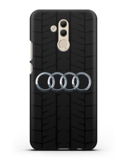 Чехол с логотипом Audi c протектором шин силикон черный для Huawei Mate 20 Lite