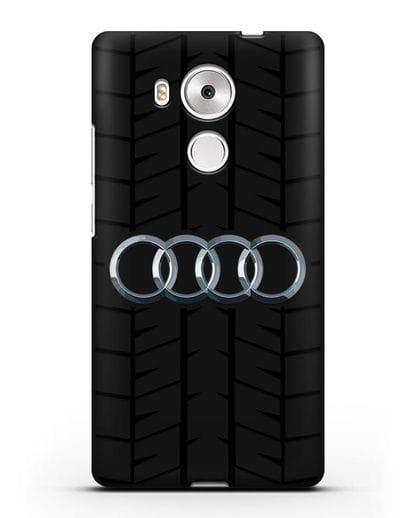 Чехол с логотипом Audi c протектором шин силикон черный для Huawei Mate 8