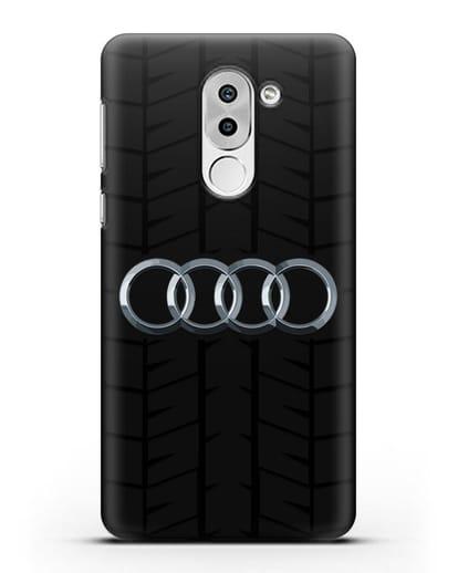 Чехол с логотипом Audi c протектором шин силикон черный для Huawei Mate 9 Lite