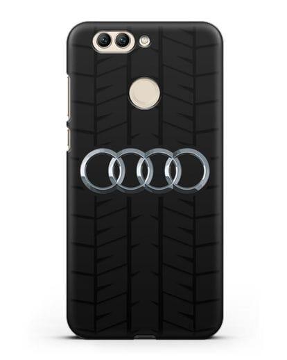 Чехол с логотипом Audi c протектором шин силикон черный для Huawei Nova 2 Plus