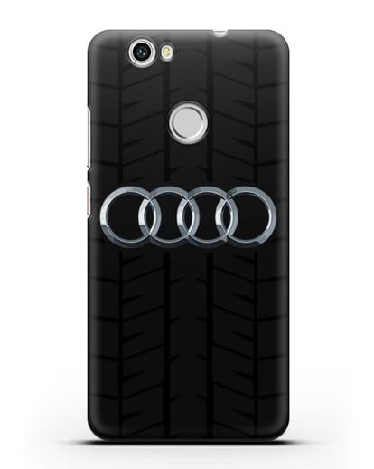Чехол с логотипом Audi c протектором шин силикон черный для Huawei Nova