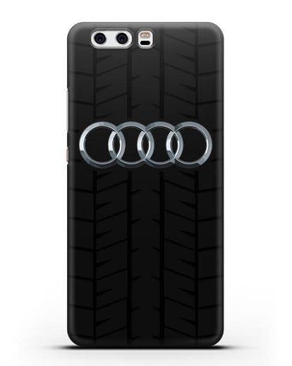 Чехол с логотипом Audi c протектором шин силикон черный для Huawei P10
