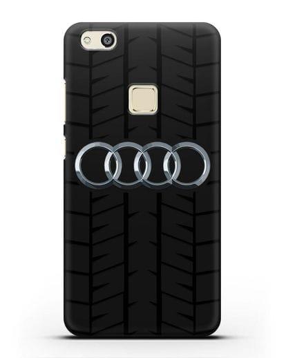 Чехол с логотипом Audi c протектором шин силикон черный для Huawei P10 Lite