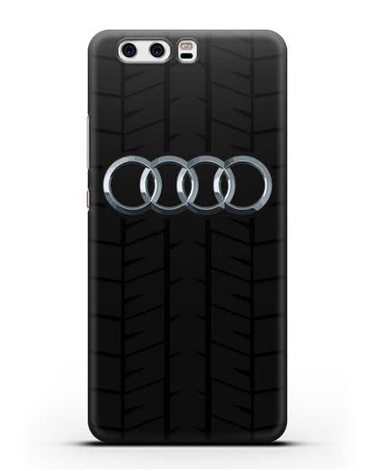 Чехол с логотипом Audi c протектором шин силикон черный для Huawei P10 Plus