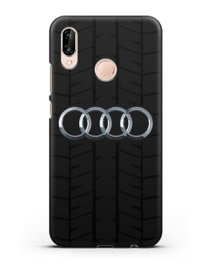 Чехол с логотипом Audi c протектором шин силикон черный для Huawei P20 Lite