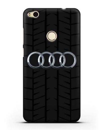 Чехол с логотипом Audi c протектором шин силикон черный для Huawei P8 Lite 2017