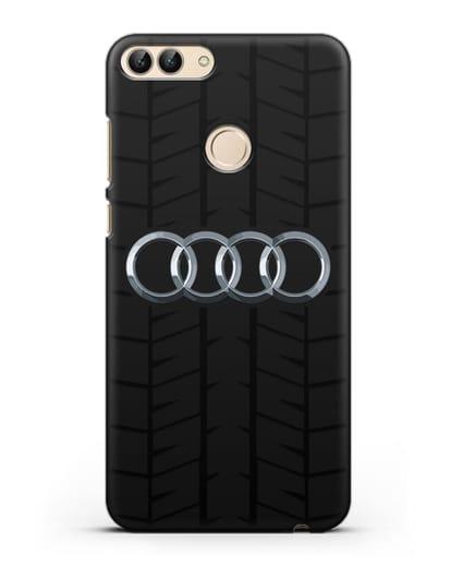 Чехол с логотипом Audi c протектором шин силикон черный для Huawei P Smart
