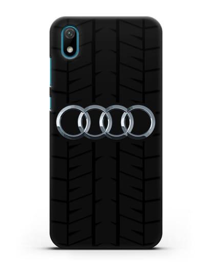 Чехол с логотипом Audi c протектором шин силикон черный для Huawei Y5 2019