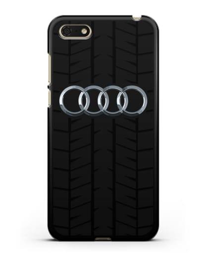 Чехол с логотипом Audi c протектором шин силикон черный для Huawei Y5 Prime 2018