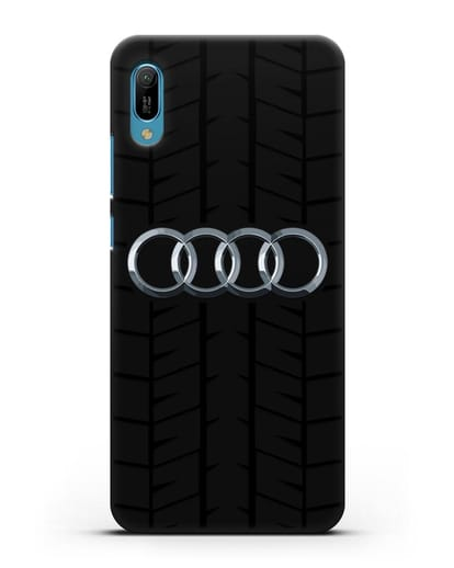 Чехол с логотипом Audi c протектором шин силикон черный для Huawei Y6 2019