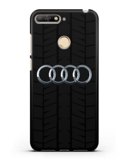 Чехол с логотипом Audi c протектором шин силикон черный для Huawei Y6 Prime 2018