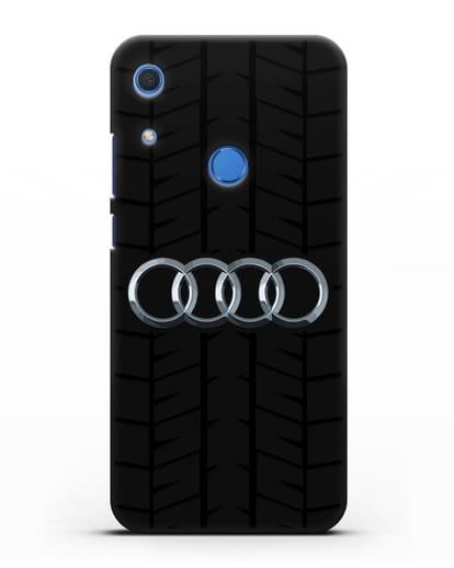 Чехол с логотипом Audi c протектором шин силикон черный для Huawei Y6s
