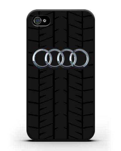 Чехол с логотипом Audi c протектором шин силикон черный для iPhone 4/4s