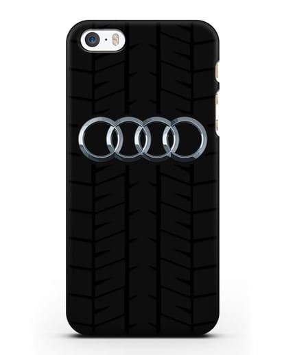 Чехол с логотипом Audi c протектором шин силикон черный для iPhone 5/5s/SE