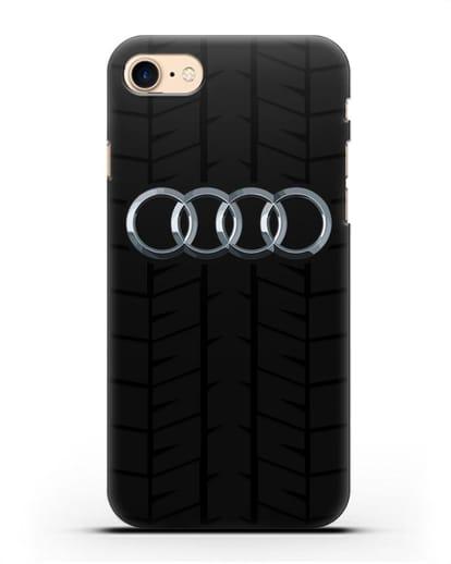 Чехол с логотипом Audi c протектором шин силикон черный для iPhone 7