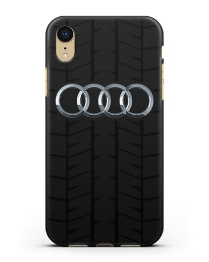 Чехол с логотипом Audi c протектором шин силикон черный для iPhone XR