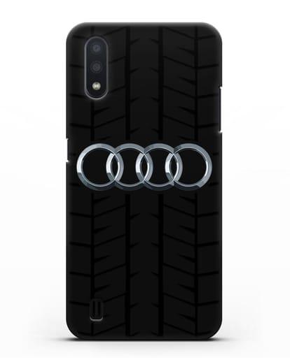Чехол с логотипом Audi c протектором шин силикон черный для Samsung Galaxy A01 [SM-A015F]