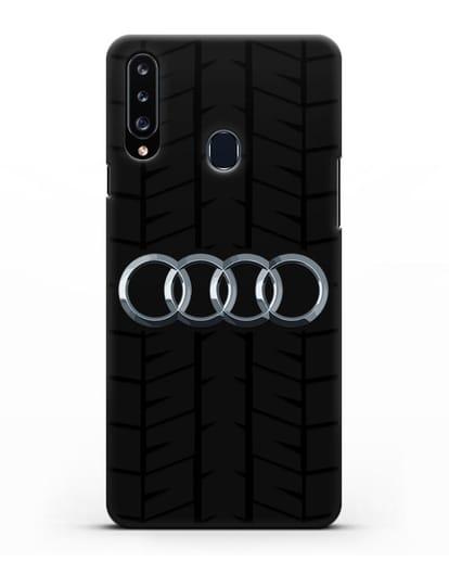 Чехол с логотипом Audi c протектором шин силикон черный для Samsung Galaxy A20s [SM-A207FN]