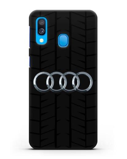 Чехол с логотипом Audi c протектором шин силикон черный для Samsung Galaxy A40 [SM-A405F]