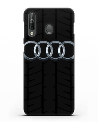 Чехол с логотипом Audi c протектором шин силикон черный для Samsung Galaxy A40s [SM-A507FN]