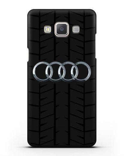 Чехол с логотипом Audi c протектором шин силикон черный для Samsung Galaxy A7 2015 [SM-A700F]
