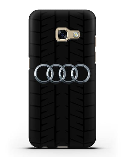 Чехол с логотипом Audi c протектором шин силикон черный для Samsung Galaxy A7 2017 [SM-A720F]