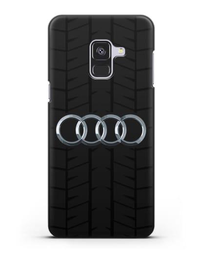 Чехол с логотипом Audi c протектором шин силикон черный для Samsung Galaxy A8 [SM-A530F]