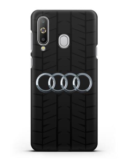 Чехол с логотипом Audi c протектором шин силикон черный для Samsung Galaxy A8s [SM-G8870]