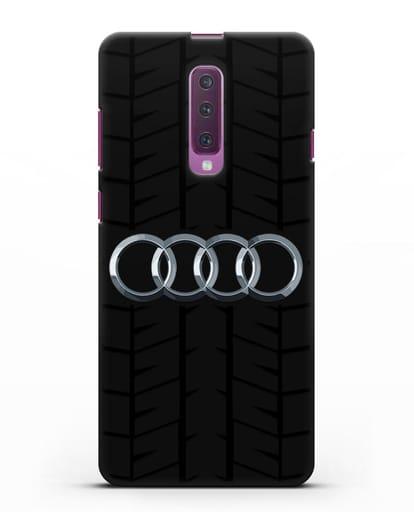 Чехол с логотипом Audi c протектором шин силикон черный для Samsung Galaxy A90 [SM-A908N]