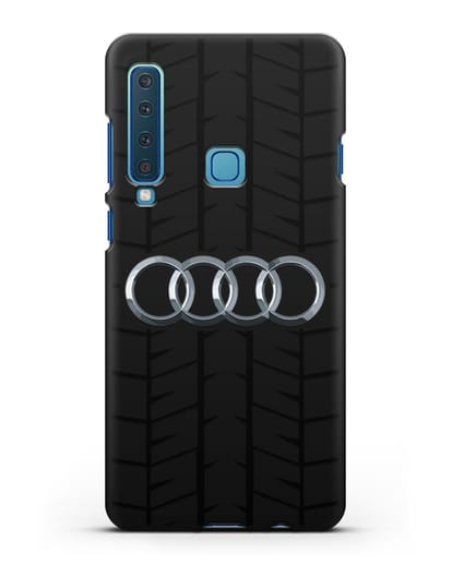 Чехол с логотипом Audi c протектором шин силикон черный для Samsung Galaxy A9 (2018) [SM-A920]