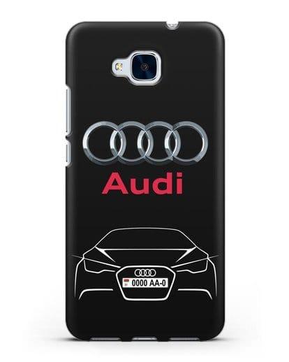 Чехол Audi с автомобильным номером силикон черный для Honor 5C