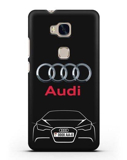 Чехол Audi с автомобильным номером силикон черный для Honor 5X