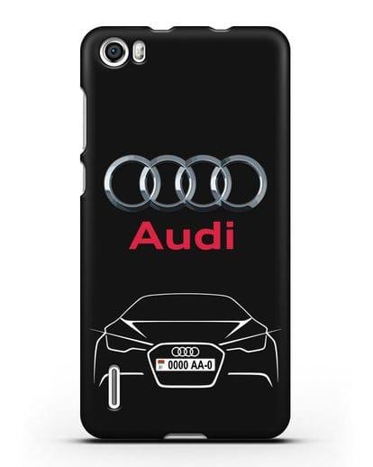 Чехол Audi с автомобильным номером силикон черный для Honor 6